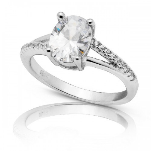 SOLITARIO CZ OVAL 8 X 6 MM - SO1345