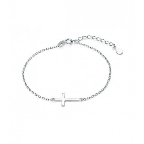 PULSERA CRUZ LISA RODIO - PU3838