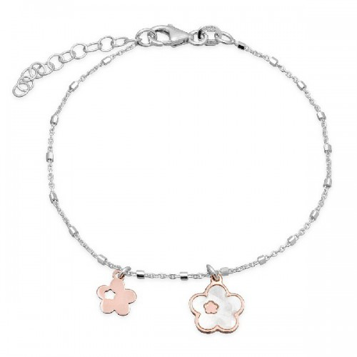 PULSERA CADENA TUBITOS FLOR NACAR+LISA ROSE - PU4866OR